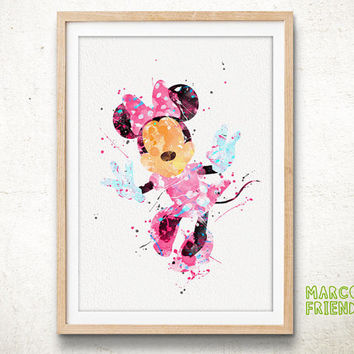 Minnie Mouse - Watercolor, Art Print, Home Wall decor, Kids Gift, Disney Wall Art, Mickey Mouse Poster