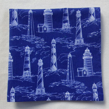 "Lighthouse  Pocket Square / Lighthouse Hankies / Lighthouse Hanky / Bright Blue Pocket Square / 11.5"" Square / SMALLER SIZE / Great Fabric"
