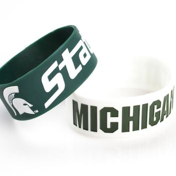 Michigan State Spartans Bracelets - 2 Pack Wide