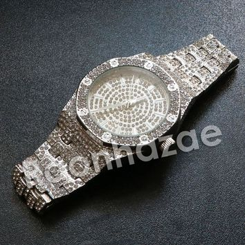 """Iced Out Hip Hop """"Life is Good"""" Silver Techno Pave Wrist Watch"""