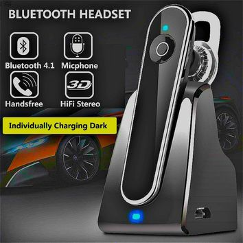 Bluetooth Headset URBST 4.1 Hands Free Wireless Earpiece Sweatproof Noise Cancelling In-ear Earbuds with Mic (Black)