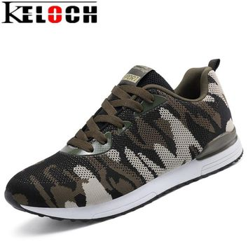 Keloch 2017 New Camouflage Military Unisex Running Shoes Men Women Breathable Flying Mesh Running Sneakers Comfortable krasovki