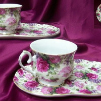 4 Piece Porcelain Snack Set in Gift Box Pink Roses and Lilacs on White Chintz