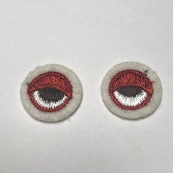 Eyes Patch Embroidered Patch Vintage 1980s Tiny Patch Emblem Stoner Eyes