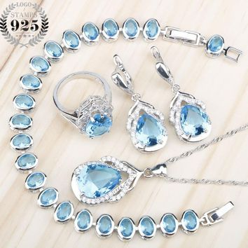Blue Zircon Silver 925 Wedding Jewelry Sets Women Charms Bracelets Necklace Pendant Earrings Rings Set With Stones Free Gift Box