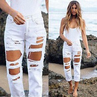 ripped jeans high waist denim jeans for women 2016 black pencil jeans femme skinny women jeans pants trousers