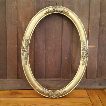 Vintage Oval Wood Gold Gesso Frame Great For Framing and Decor