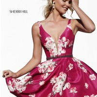 Sherri Hill 32321 Fall Floral Print Short Dress