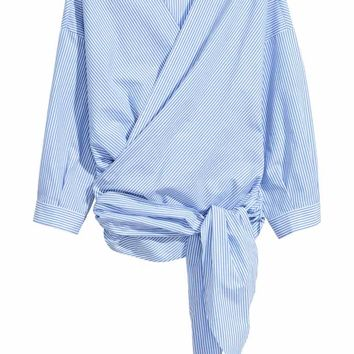 Cotton wrapover blouse - Blue/White/Striped - Ladies | H&M GB