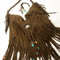 Mocha Latte Fringe Cross Body Bag
