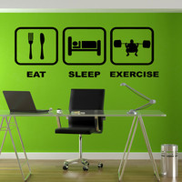 Eat Sleep Exercise Wall Decal GYM Fitness Weightlifting Stickers Crossfit Motivation Wall Art Wall Decal Home Decor Stickers Decor tr179