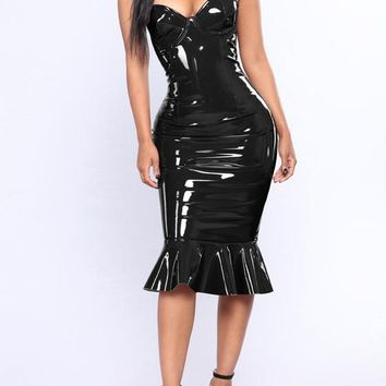 Black Ruffle PU-Leather Off Shoulder Mermaid Latex Bodycon Clubwear Party Midi Dress