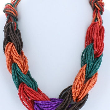 Trendy Twist Seed Bead Twisted Necklace Beaded Fashion Brown Orange Teal Red Purple Bead Costume Jewelry Gift