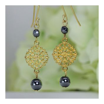 Hematite Filigree Dangle Earrings in Gold-Plated 925 Sterling Silver