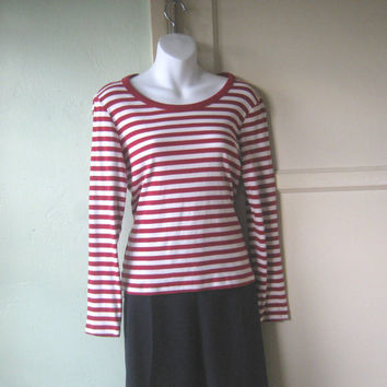 White & Red Nautical Stripe Shirt - Long Sleeved, Classic Sailor Shirt - Medium Nautical Stripe Top - Striped Sailing/Boating Shirt; Preppy