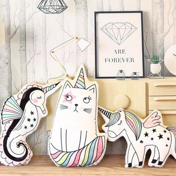 1pc Kawaii Unicorn, Cat, Sea Horse Plush Pillow Stuffed Cute Soft Animal Shaped Doll Baby Kids Bedroom Decoration Christmas Gift