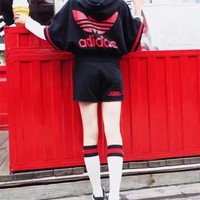 """Adidas"" Women Casual Stripe Letter Print Zip Cardigan Hooded Short Sleeve Shorts Set"