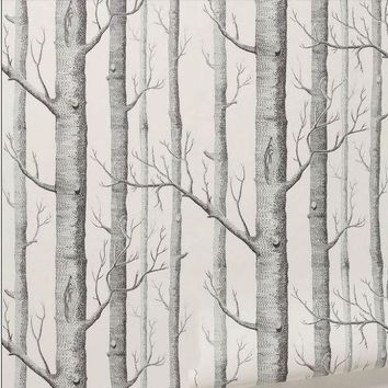 ESBU3C Textured Tree Forest Woods Wall Paper Background Wallpaper Roll Living Room Hotel Restaraunt Decor DIY Art