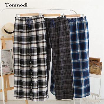 Trousers Men Spring 100% Cotton Plaid Pyjamas Pants Loose Sleep Trousers Mens Sleep Bottoms