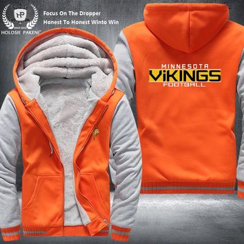 Dropshipping USA Size Unisex Minnesota Vikings Football Zipper Sweatshirt Jacket Fleece Thicken Costume Jacket Coat Hoodies made