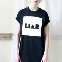 LIAR Slogan Monochrome Black and White T shirt Hipster Indie Band