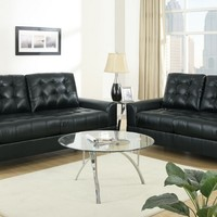 A.M.B. Furniture & Design :: Living room furniture :: Sofas and Sets :: Leather Sofa sets :: 2 pc Black bonded leather upholstered Sofa and love seat set with chrome legs and tufted back and seats
