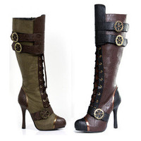 "Women's 4"" Knee High Steampunk Boot With Laces"