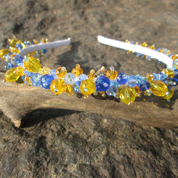 Yellow and blue Crystal headbands Crystal halo Hair accessories Blue crown Hair jewelry Boho wedding jewelry Yellow jewellery Blue bridal