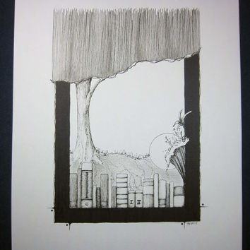 NOTHING IS LOST: Surreal Landscape artwork, pen ink illustration, pen and ink, pen drawing, black and white art, 8x10