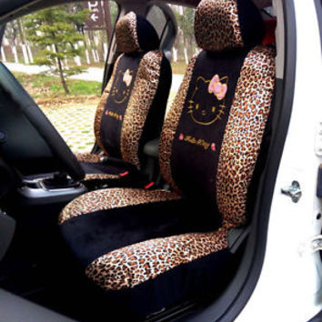 Car Seat Covers Leopard Hello Kitty Cartoon Universal Car Interior 10 Pieces