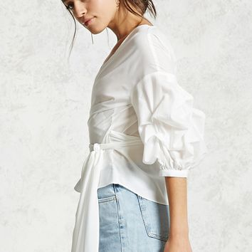 Self-Tie Ruffle Sleeve Top