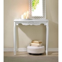 WHITE SCALLOPED HALL TABLE