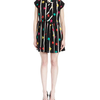 Cap-Sleeve Tie-Neck Star-Print Dress, Black/Multi