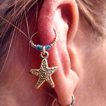 Silver Starfish Cartilage Hoop Beaded Earring Boho Tragus Helix Piercing