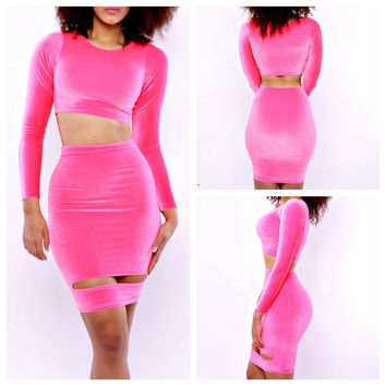 Pink Long Sleeve Cropped Top and Ripped Bodycon Skirt Set
