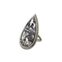Eva Fehren Quartz & White Diamond Ring - Black White Gold Statement Ring