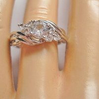 Altered CZ Anniversary Right Hand Ring Size 7 Sterling