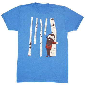 Tree Hugger - Unisex Mens T-shirt Birch Treehugger Wood Forest Cute Nature Plaid Woodland Lumberjack Mustache Beard Tee Shirt Blue Tshirt