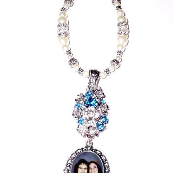 Wedding Bouquet Memorial Photo Charm Old World Elegance Flowers Blue Crystals Pearls Tibetan Beads - FREE SHIPPING
