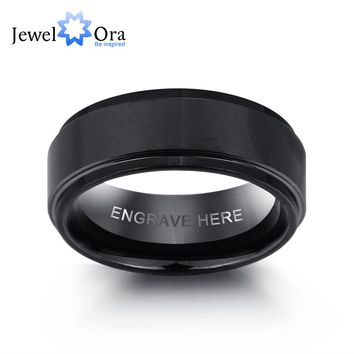 Men's Personalized Engrave Black Tungsten Carbide Wedding Band
