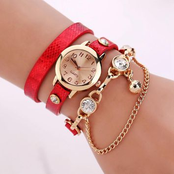 Women's Leather Strap Glass Jewel Watch In 8 Colors