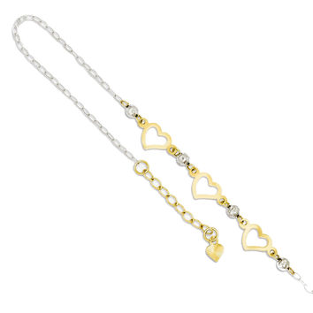 "14k White and Yellow Gold Heart, Bead Station Anklet Ankle Bracelet, 9"""" + 1"""" Ext"