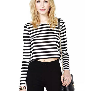 Black and White Striped Long Sleeve Cropped Top