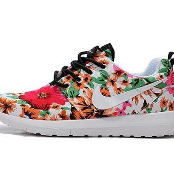 custom nike roshe run flyknit sneakers athletic womens shoes with fabric floral and sw