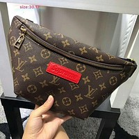 Louis Vuitton x Supreme Fashion Casual Women Leather Waist bag Shoulder Bag Crossbody G