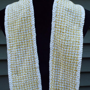 Clergy Stole in White and Gold for Christmas, Easter, Woven stole for priest, minister, pastor, religious gift, liturgical, white stole