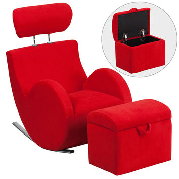 Flash Furniture HERCULES Series Red Fabric Rocking Chair with Storage Ottoman [LD-2025-RD-GG]
