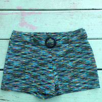 Vintage 90s Retro Hot Pants Shorts Funky Space Girlz Aqua Size Small