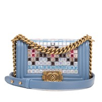 Chanel Light Blue Lambskin Small Boy Bag with Mosaic Embroideries by Lesage