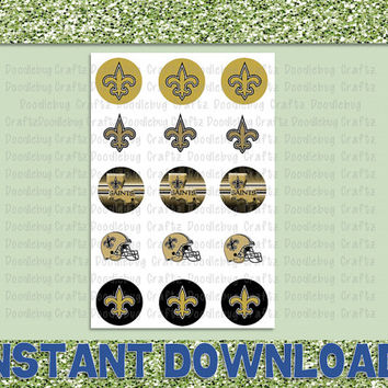 "New Orleans Saints - NOLA - Printable Bottlecap Images - Instant Download 1"" circles - 15 images - NFL - NFC"